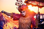 Typical mask of Carnival of Venice in Riva degli Schiavoni, Venice, Veneto, Italy