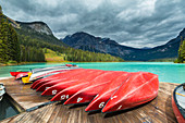 Rental canoes in Emerald Lake, Yoho National Park, Field, British Columbia, Canada