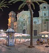 Panoramic of Santa Cruz Cathedral at night and Plaza Catedral, Cadiz, Andalusia, Spain