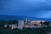 Alhambra palace and fortress at dusk, Granada, Andalusia, Spain