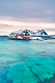 Rorbu on snowy islet in the turquoise sea, Svolvaer, Lofoten Islands, Norway
