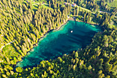 Cresta lake (Crestasee) surrounded by green woods seen from above, Flims, canton of Graubunden, Switzerland