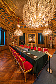 Velvet on chairs and long table used for the noble meetings in the interior rooms of the Royal Palace, Stockholm, Sweden