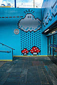 Thorildsplan metro station decorated with artwork on tiles inspired by video games characters, Stockholm, Sweden