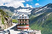 Historical Hotel Belvedere on Furka Pass definitely closed, Canton of Valais, Switzerland