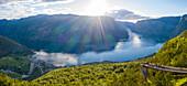 Aerial panoramic of Stegastein viewpoint overlooking Aurlandsfjord, Sogn og Fjordane county, Norway