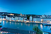 Dusk over Limmat River seen from Lindenhof Hill, Zurich, Switzerland