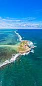 Aerial panoramic of Ile au Phare (Ile Aux Fouquets) in between tropical lagoon and Indian Ocean, Mahebourg, Grand Bay, Mauritius