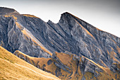 Shapes of rocky mountain ridges during autumn, First, Grindelwald, Bernese Oberland, Canton of Bern, Switzerland