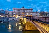 Corte di Cassazione (Palace of Justice) from Ponte Umberto I along river Tiber, Rome, Lazio, Italy