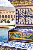Details of Plaza de Espana azulejos. Seville, Andalucia, Spain