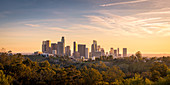 Panoramic view of Downtown Los Angeles during sunset. Los Angeles, California, USA