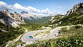 Mountain road leading to Tre Cime di Lavaredo peake. Tre Cime di Lavaredo natural park, Belluno province, Dolomites, Veneto, Italy