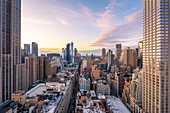 High view of Manhattan Midtown, New York City.