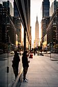 "Sunrise in new York during ""Manhattan Edge"". Manhattan, New York, Usa"