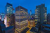 High View of Manhattan at night, New York, USA