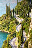 The famous Strada della Forra, a scenic road on Garda Lake western side. Brescia province, Lombardy, Italy