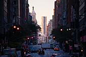 A long street in Manhattan, New York, USA