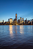 Southern Manhattan skyline, with Liberty Tower, from New Jersey coastline. New York, USA