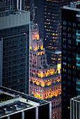 High angle view of Manhattan during dusk. Manhattan, New York City, USA