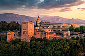 Sunset at Alhambra, the istoric Palace of Granada, ANdalusia, Spain