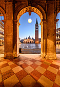 St Mark Square and bell tower before sunrise. Venice, Veneto, Italy.