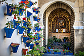 Interior of a patio in the city of Cordoba, Andalusia, Spain.