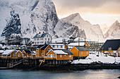 Sakrisoy village in the middle of Reine Bay, Lofoten Islands, Nordland, Norway.