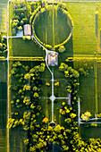 Aerial view of Villa sorra, an ancient house in Gaggio in Piano, Modena province, Emilia Romagna, Italy