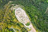 Aerial view of the Rocca Manerba. Manerba, Garda Lake, Province of Brescia, Italy