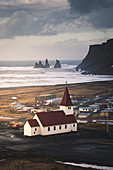 Vik church and cliffs. Vik, Southern Iceland.