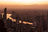 Bangkok from the top of King Power Mahanakon tower at sunset, Thailand, South East Asia