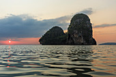 Phra Nang beach at sunset, Railay, Krabi, Thailand, South east Asia