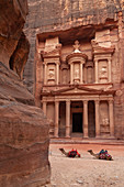 Jordan, Petra, the Treasury (Al Khazneh) at the end of the Siq.