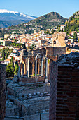 Walls antique of Theatre Greco - Romano in Taormina city. Europe, Italy, Sicily, Messina province, Taormina