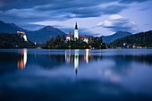 Bled Island with Church of the Assumption at dusk, Lake Bled, Upper Carniola, Slovenia