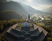 Aerial view of Saint Anthony's sanctuary (Caporetto memorial), Kobarid, Goriska, Slovenia