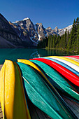 Overturned canoes, Moraine Lake, Valley of the Ten Peaks, Banff National Park, Rocky Mountains, Alberta, Canada
