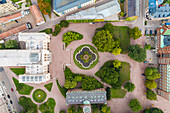 Birds eye view of Lund University near Malmoe and the courtyard and formal garden.