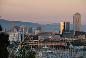 Cityscape of Barcelona at sunset, Catalonia, Spain.