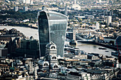 The Walkie Talkie architectural landmark and Tower Bridge along the River Thames, London