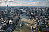Aerial view of City of London and the River Thames.