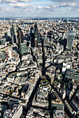 Aerial view of City of London. the Financial District and architectural landmarks of London