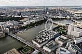 Aerial view of the London Eye, London Bridge and River Thames in London