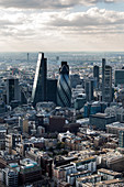 Aerial view of the Square Mile, the City of London financial centre, with architectural landmarks.