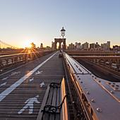 View across Brooklyn Bridge, New York City, USA during the Corona virus crisis.