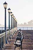 View along empty Pier 7, The Embarcadero, San Francisco, California, USA during the Corona virus crisis..