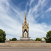 Exterior view of the Albert Memorial, Hyde Park, London, UK during the Corona virus crisis.