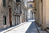 View down an empty street in Florence, Italy during the Corona virus crisis.