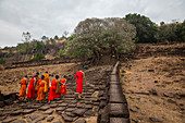 Monks at the Vat Phou Temple in Champasak, Laos, Asia